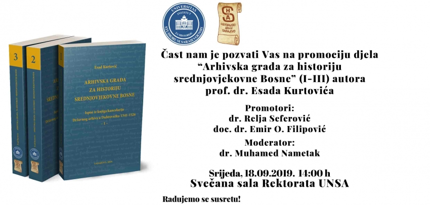 """Promocija djela: """"Arhivska građa za historiju srednjovjekovne Bosne"""""""